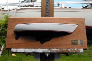 A half-hull model by Todd Dunn Micro Yachts